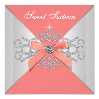 Coral Diamonds and Coral Birthday Party Card