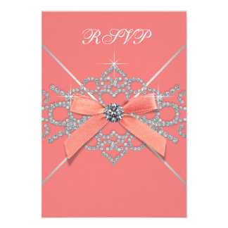 Coral Diamonds Coral Sweet 16 Birthday Party RSVP Invitations