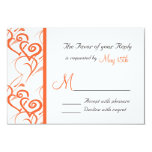 Coral Double Hearts Swirls Vines Wedding RSVP 9 Cm X 13 Cm Invitation Card