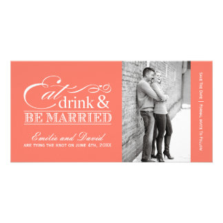 Coral Eat, Drink and Be Married Save the Dates Card
