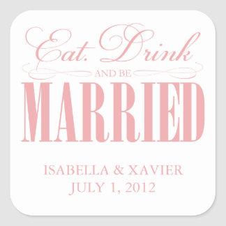 Coral Eat, Drink & Be Married | Stickers