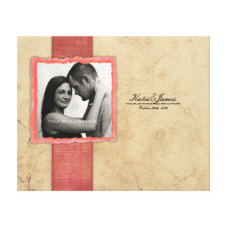 Coral Engagement Photo Rustic Vintage Wedding Canvas Print