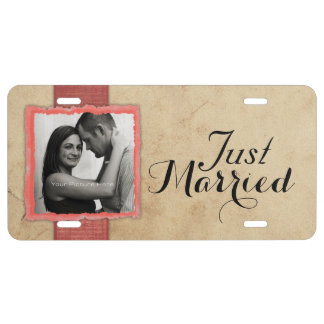 Coral Engagement Photo Rustic Vintage Wedding License Plate
