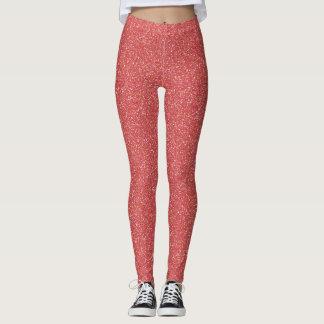 Coral Faux Glitter Leggings