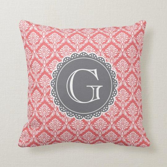 Coral Floral Damask Pattern Grey Monogram Cushion