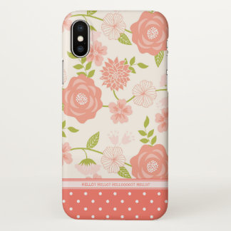 Coral Floral | Flowers & Polka Dots | Personalized iPhone X Case