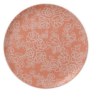 Coral Floral Line Museum LA Melamine Plate