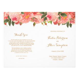 Coral Floral Wedding Programs Flyer