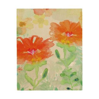 Coral Floral Wood Print