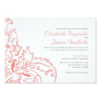 Coral Flourish Wedding Invitations