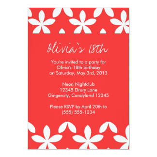 Coral Flower Birthday Invitation