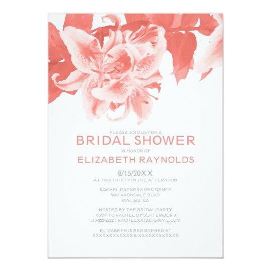 Coral Flower Bridal Shower Invitations