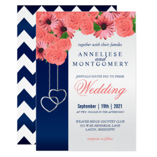 Coral Flowers and Navy Blue Invitation