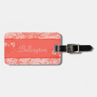 Coral Flowers in Bloom Luggage Tag