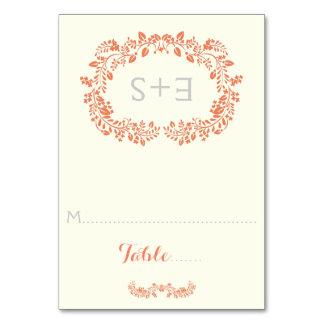 Coral foliage frame & initials wedding place card