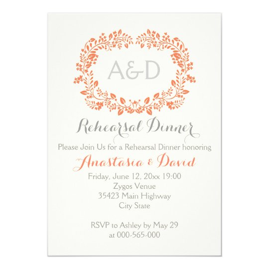 Coral foliage initials wedding rehearsal dinner card
