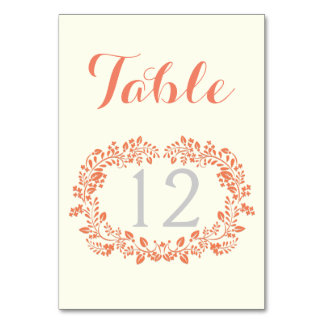 Coral foliage wreath frame wedding table number