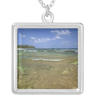 Coral formations on Tunnels Beach Square Pendant Necklace