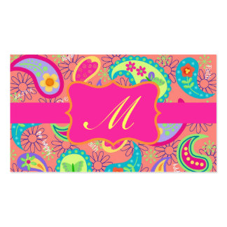 Coral Fuchsia Pink Modern Paisley Monogram Pack Of Standard Business Cards