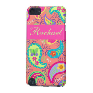 Coral Fuchsia Pink Modern Paisley Pattern iPod Touch (5th Generation) Cover