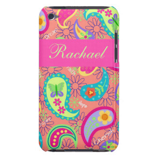 Coral Fuchsia Pink Modern Paisley Pattern iPod Touch Case-Mate Case