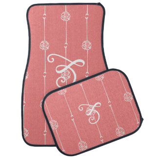 Coral Fusion Rose Stripe Car Mat