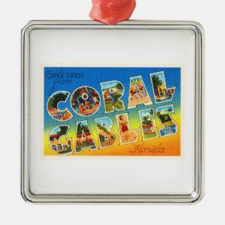 Coral Gables Florida FL Vintage Travel Souvenir Christmas Ornament