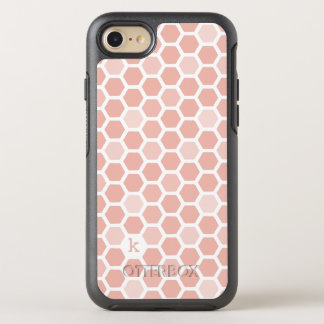 Coral Geometric Hexagon Pattern Monogram OtterBox Symmetry iPhone 8/7 Case
