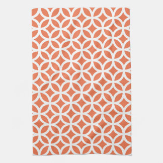 Coral Geometric Kitchen Towels