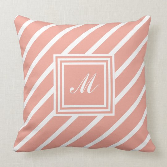 Coral Geometric Monogrammed Throw Pillow