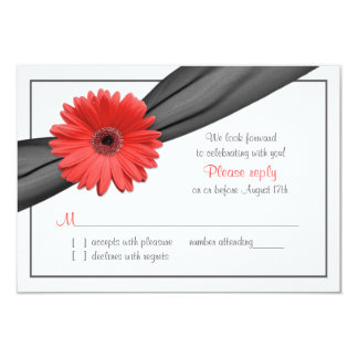 Coral Gerber Daisy Grey Ribbon Wedding RSVP Card