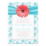 Coral Gerbera Daisy Aqua Floral Wedding Invitation 13 Cm X 18 Cm Invitation Card