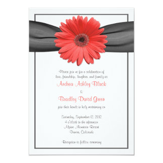 Coral Gerbera Daisy Grey Ribbon Invitation