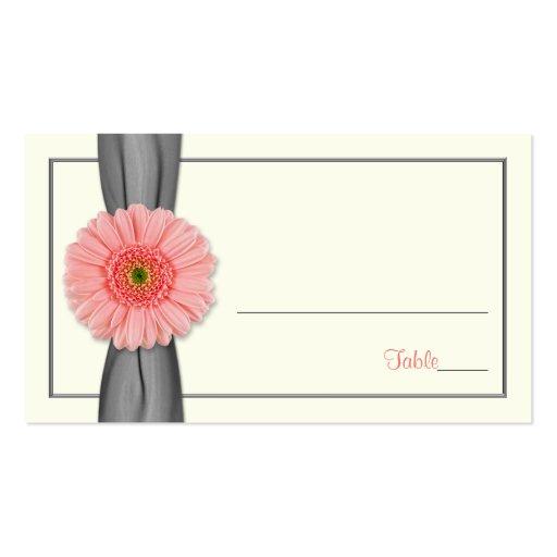 Coral Gerbera Daisy Grey Ribbon Wedding Place Card Business Cards