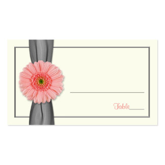 Coral Gerbera Daisy Grey Ribbon Wedding Place Card Pack Of Standard Business Cards