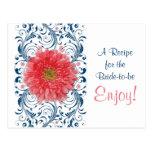 Coral Gerbera Daisy Navy Recipe Card Bridal Shower Postcard
