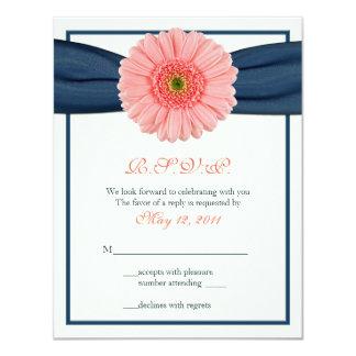 Coral Gerbera Daisy Navy Ribbon Response Card 11 Cm X 14 Cm Invitation Card