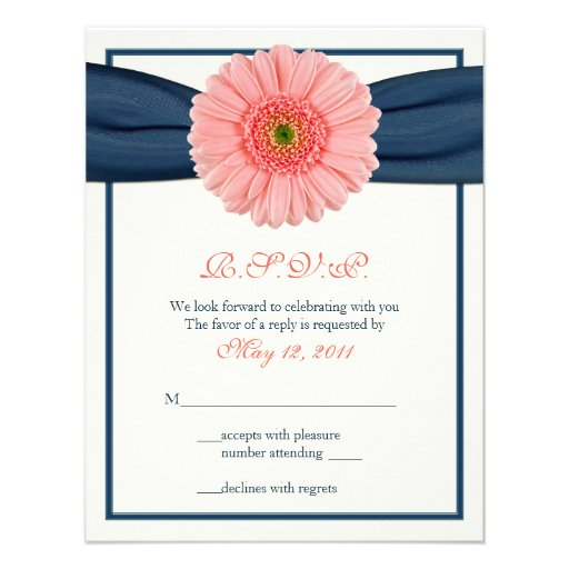 Coral Gerbera Daisy Navy Ribbon Response Card Personalized Announcement
