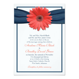 Coral Gerbera Daisy Navy Ribbon Wedding Invitation