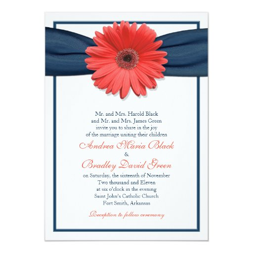Hot Pink Gerbera Daisy White Wedding Invitation 5 X 7: Coral Gerbera Daisy Navy Ribbon Wedding Invitation