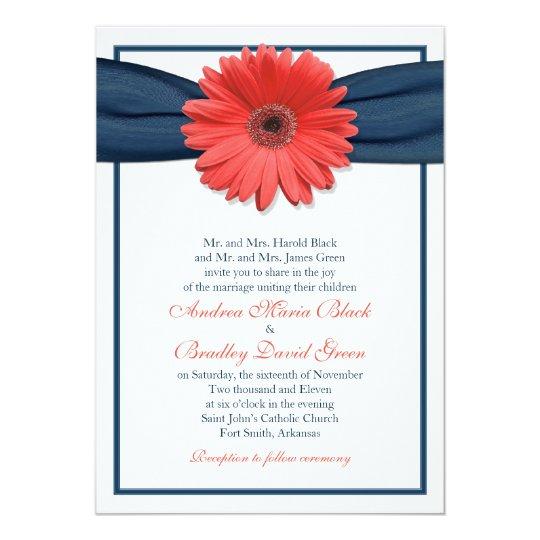 White Black Gold Daisy Wedding Invitation: Coral Gerbera Daisy Navy Ribbon Wedding Invitation