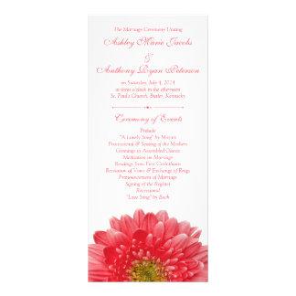 Coral Gerbera Daisy White Wedding Program Custom Rack Cards