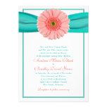 Coral Gerbera Turquoise Ribbon Wedding Invitation