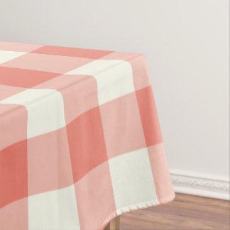 Coral Gingham / Buffalo Check Tablecloth