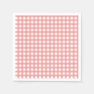 Coral Gingham Paper Napkins