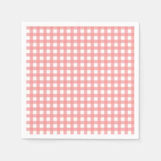 Coral Gingham Paper Napkins Paper Napkin