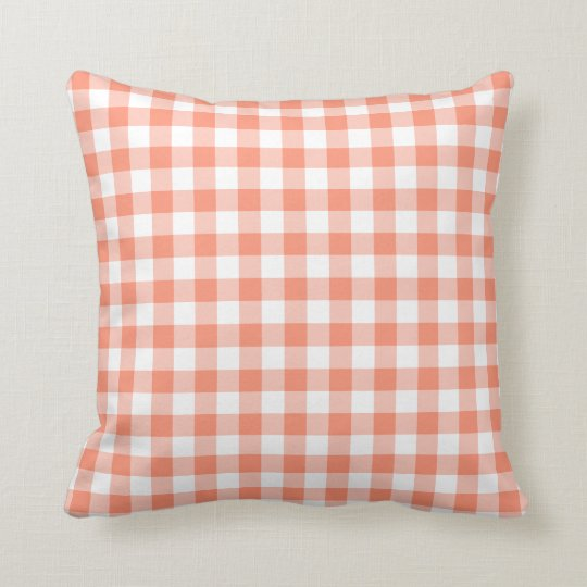 Coral Gingham Pattern Cushion