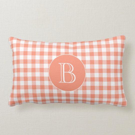 Coral Gingham Pattern Custom Monogram Lumbar Cushion