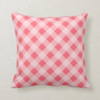 Coral Gingham Pillow