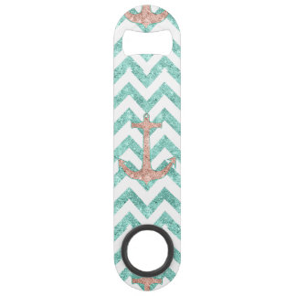 Coral Glitter Nautical Anchor Teal Chevron Zigzags
